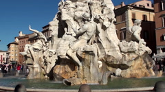 Fountain of the Four Rivers, Rome Stock Footage