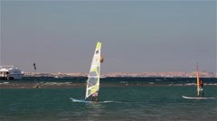 WIND SURFING ON RED SEA, HURGHADA, EGYPT Stock Footage