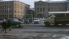 Leningrad 1976: traffic in the streets - stock footage