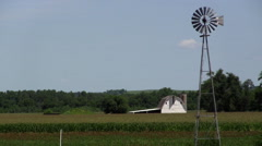 Stock Video Footage of Farm Windmill Midwest
