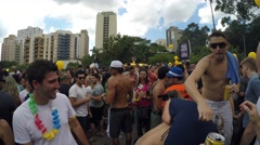 People Celebrating the Popular and Famous Carnaval Party in Brazil Stock Footage