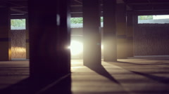 The car moves at the parking . backlight Stock Footage