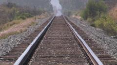 Train tracks hot summer Stock Footage