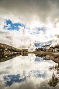 Misurina lake in the dolomiti - stock photo