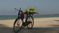 Ngwe Saung, Bike with coconuts at the beach Stock Footage