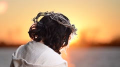 Jesus with Crown of Thorns Stock Footage
