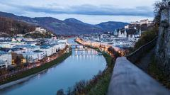 Evening view of Salzburg - stock photo