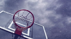 Basketball hoop in snow Stock Footage