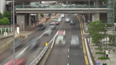 Timelapse traffic street Hong Kong suspended footbridge crossroad car pass day   Stock Footage