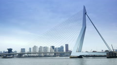 ROTTERDAM, THE NETHERLANDS - JANUARY 21, 2015: The Erasmusbrug of Rotterdam 4K Stock Footage