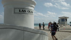 Stock Video Footage of Las Olas & A1A beach, waterfront in Fort Lauderdale Florida