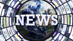 Stock Video Footage of NEWS Text, World and Monitors Tunnel