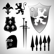 heraldic set - stock illustration