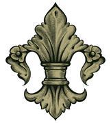 heraldry lily - stock illustration