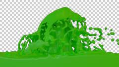 Animated fountain of green paint against transparent background Stock Footage