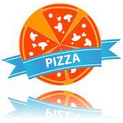 Pizza icon slices arranged beautifully Stock Illustration