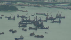 Aerial view industrial port Hong Kong cargo ship export import global goods day  - stock footage