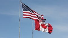 Usa canada flags Stock Footage