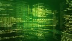 Program Code. Loopable. Green. 360. Stock Footage
