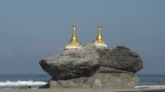 Ngwe Saung, Kyauk Maumghnama pagoda at the beach Stock Footage
