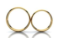 Pair of golden ring isolated on white background - stock illustration