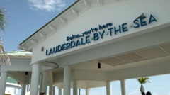 Lauderdale by the Sea, Town Sign at Pier tourist welcome, Florida Stock Footage