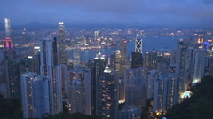 Aerial view spectacular Hong Kong panorama monsoon season twilight landmark icon Stock Footage