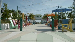 Beach park area, Lauderdale by the Sea, seating area near pier Stock Footage