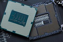 Central processor unit on motherboard Stock Photos