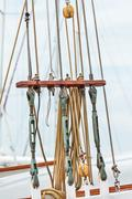 Rigging on an old Dutch sailing ship Stock Photos