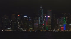 Symphony light Hong Kong Island panorama night illuminated landmark iconic view  Stock Footage