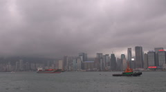 Hong Kong panorama water transport commercial ship sail cargo goods river boat   Stock Footage