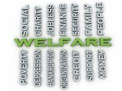 3d image Welfare issues concept word cloud background Stock Illustration