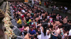Tirta Empul Bali holidays water religion ceremony traffic Stock Footage