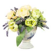 Bouquet from artificial flowers arrangement centerpiece in old vase. Stock Photos
