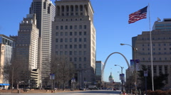An establishing shot of downtown St. Louis, Missouri with the Gateway Arch in Stock Footage