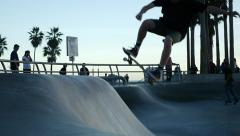 Venice Beach Skate Park - Slow Motion 96fps in HD #05 - stock footage