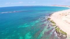Aerial view of ( Praia de ) Chaves Beach in Boa Vista Cape Verde - Cabo Verde Stock Footage