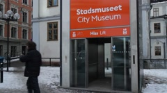 Stockholm City museum at  slussen before renovating rebuilding renewal - stock footage