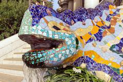Sculpture of a salamandra in Park Guell in Barcelona Stock Photos