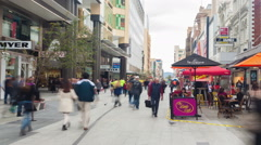 Timelapse video of people in Rundle Mall in Adelaide, Australia Stock Footage