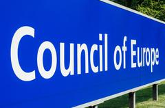 Stock Photo of Perspective viiw of Council of Europe main signage