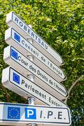Road sign in European Capital of Strasbourg Stock Photos
