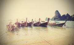 Retro style filtered faded postcard from Thailand. - stock photo