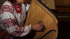 Ukrainian folk musical instrument Stock Footage