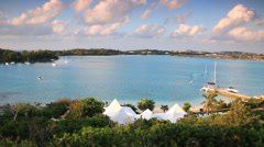 Bermuda scenic view of seaside resort buildings,marina and park Stock Footage