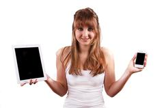 Tablet or smartphone? Stock Photos