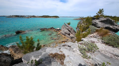 Bermuda scenic rock shore facing Tucker's Town Bay Stock Footage