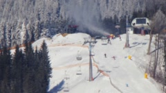 The ski run from a distance Stock Footage