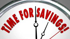 Time for Savings Clock Money Sale Discount Clearance Event Stock Footage